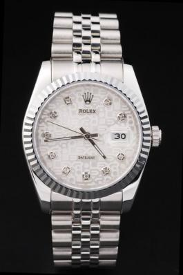 Rolex Datejust Stainless Steel White Cutwork Watch-RD2389