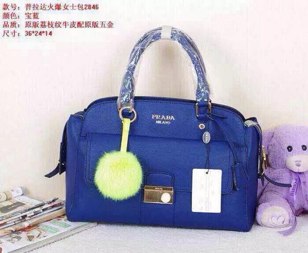 Prada Litchi Leather Tote Bag BN2846 Royal