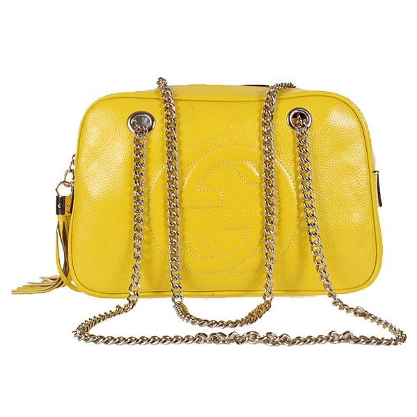 Gucci Soho Calf Leather Shoulder Bag 308983 Lemon