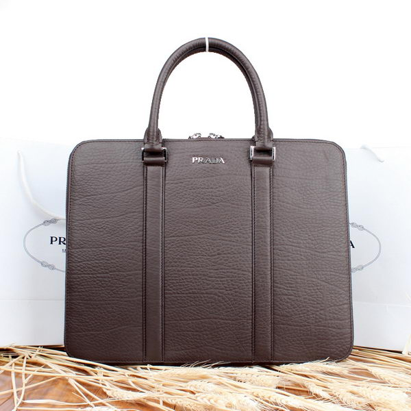 Prada Grainy Calf Leather Briefcase P00105 Brown