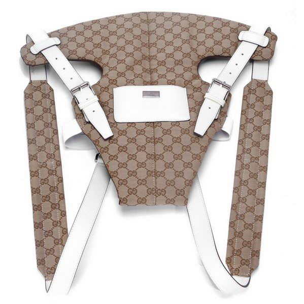 Gucci Baby Carrier 28550 White Leather Straps