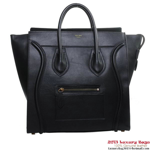 Celine 16398 3306 Luggage Medium Shopper Bag Black