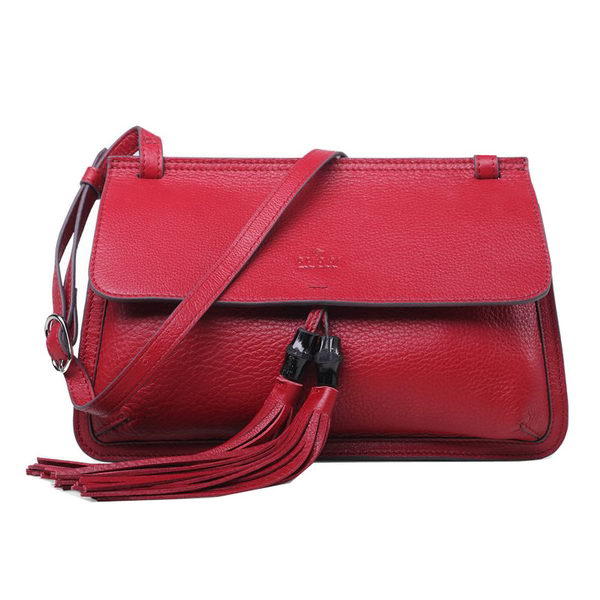 Gucci Bamboo Daily Leather Flap Shoulder Bag 370826 Red