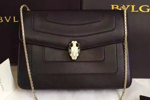BVLGARI Shoulder Bag Calfskin Leather BG22359 Black