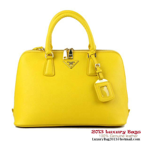 PRADA Saffiano Leather 33CM Two Handle Bag BL0812 Yellow