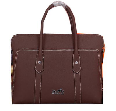 Hermes Briefcase Original Calf Leather HM98321 Brown