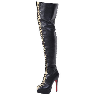 Christian Louboutin Red Sole Lace Up Over the Knee Boots Black