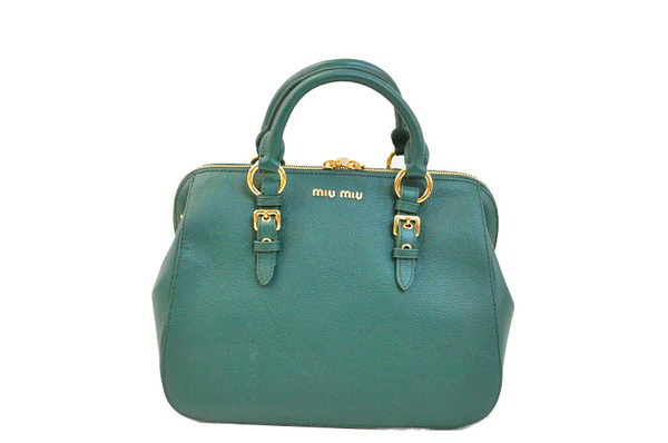 miu miu Pebble-Finish Madras Goat Leather Top-handle Bag RL0063 Dark Green