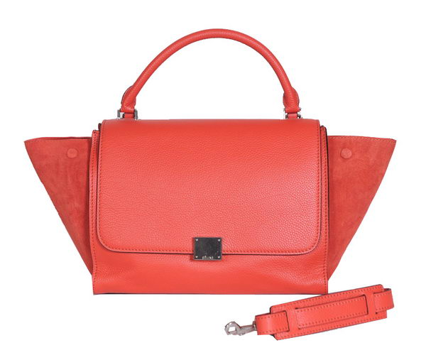 Celine Trapeze Bags Calfskin&Suede Leather Red Silver
