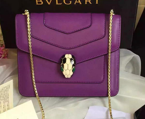 BVLGARI Small Shoulder Bag Calfskin Leather BG48043 Purple