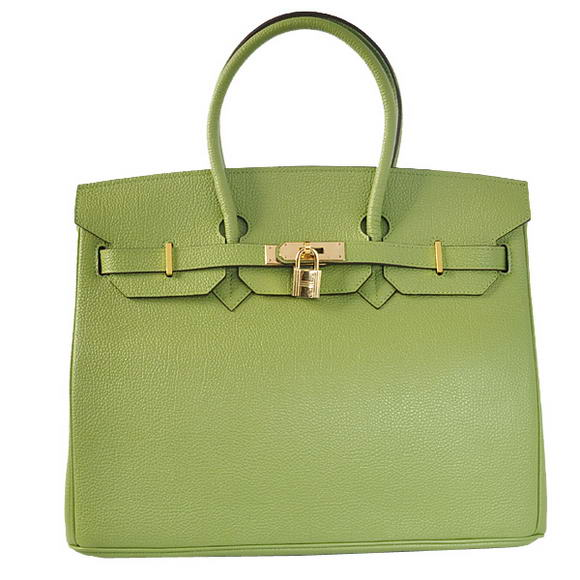 Hermes Birkin 35CM Tote Bags Smooth Togo Leather Green Golden