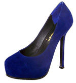 YSL Platform Suede high heel Pumps blue