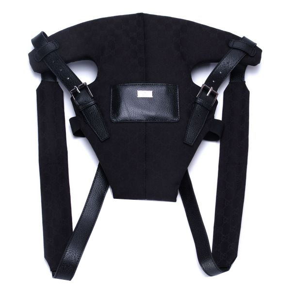 Gucci Baby Carrier 28550 Black Leather Straps