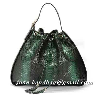 Gucci Interlocking Icon Python Medium Shoulder Bag 223951 Dark Green
