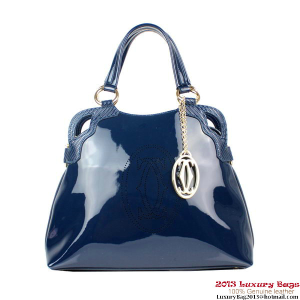 Cartier Marcello De Bag Patent Leather 1000926 Blue