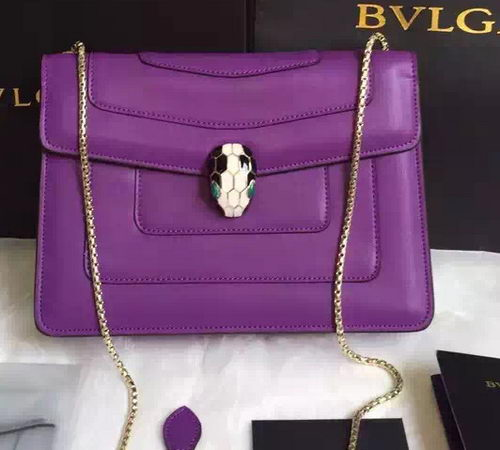 BVLGARI Shoulder Bag Calfskin Leather BG22359 Purple