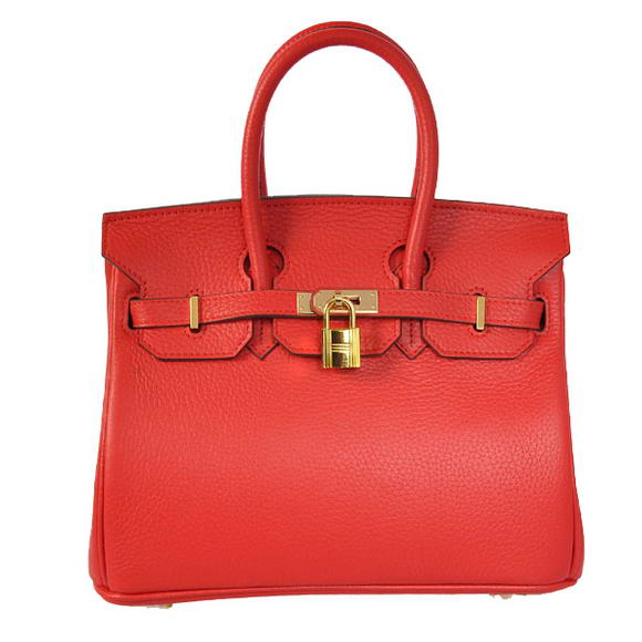 Hermes Birkin 25CM Tote Bags Togo Leather Red Godlen