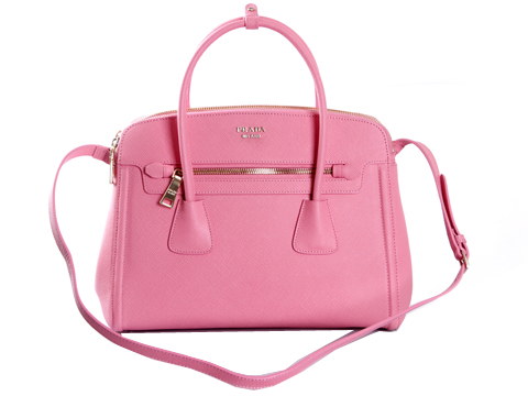 PRADA Saffiano Cuir and City Calf Leather Tote Bag BN2596 Pink