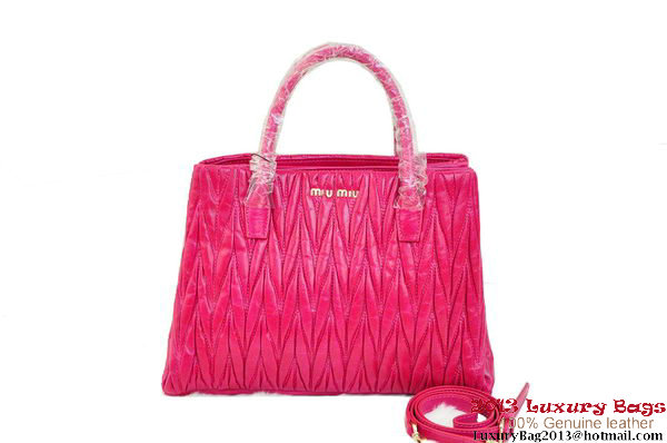 miu miu Matelasse Shiny Leather Tote Bag M0931 Peach