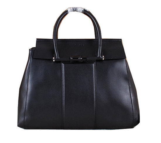 Gucci Lady Bamboo Leather Top Handle Bag 370826 Black