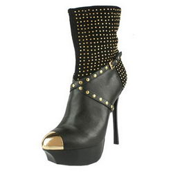 Gianmarco Lorenzi Studded Ankle Boots Sheepskin Black