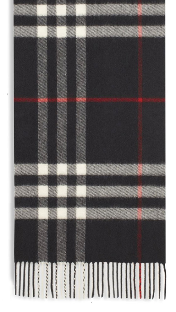 Burberry Cashmere Black Giant Check Scarf