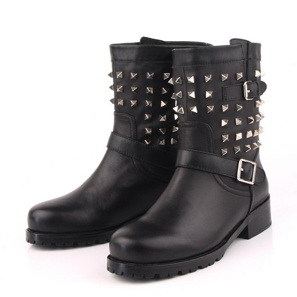 Valentino Sheepskin Leather Ankle Boot VT171 Black