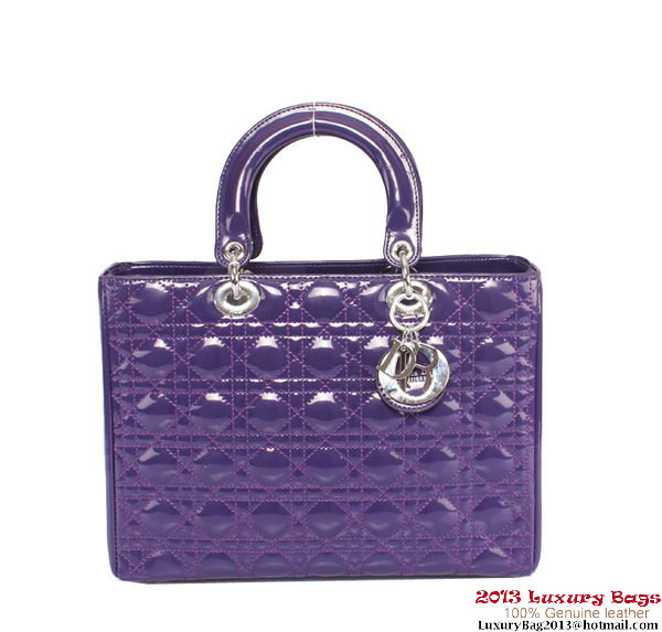 Lady Dior Bag Patent Middle Bag CD6323 Violet