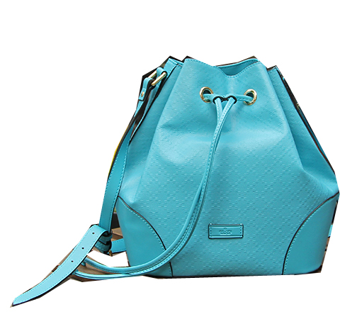Gucci Diamante Calf Leather Bucket Bag 354228 Light Blue