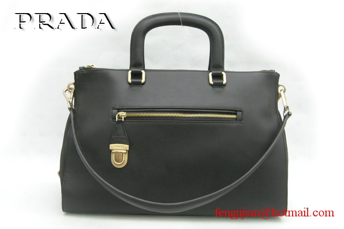 Prada Soft Leather Top Handle BL0662 Dark Coffee