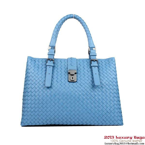 Bottega Veneta Light Calf Intrecciato Roma Bag 285411 Blue