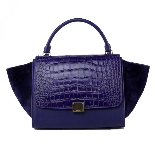 Celine Trapeze Top Handle Bag Croco Leather 88037 Purple