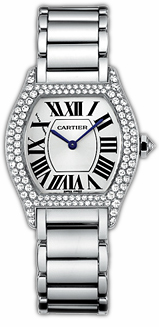 Cartier Tortue Small Fashionable 18kt White Gold Ladies Manual Winding Wristwatch-WA5049W9