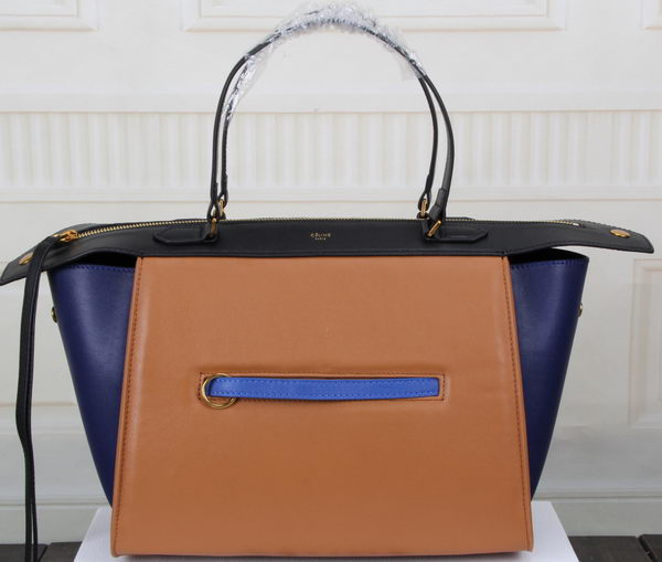 Celine Ring Bag Smooth Calfskin Leather 176203 Wheat&Royal&Black