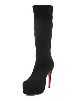 Christian Louboutin Suede Daffodile Knee Boots Black