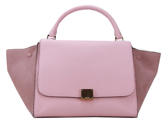 Celine Grainy&Suede Leather Trapeze Bag CL88037 Pink