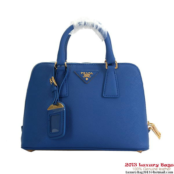 Prada Saffiano Leather Tote Bag BL0838 Blue