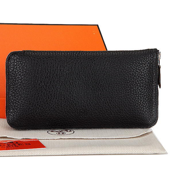 Hermes Zipper Wallet Original Leather A309 Black