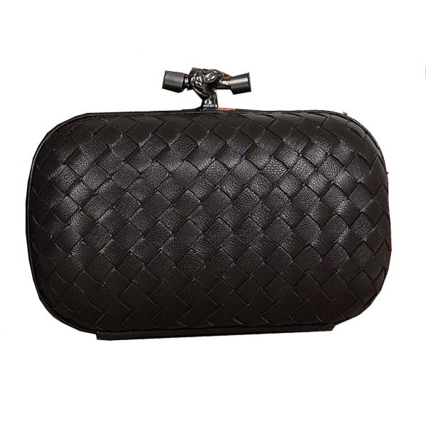 Bottega Veneta Intrecciato Sheepskin Impero Ayers Knot Clutch 11308 Black