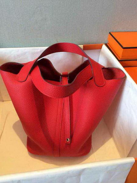 Hermes Picotin Lock 22cm Bags Litchi Leather HPT22 Red