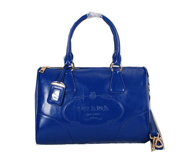 Prada Iridescent Leather Boston Bag BN2318 Blue
