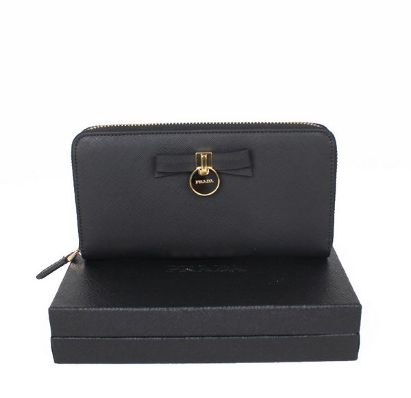 Prada Saffiano Leather Bow Zippy Wallet 1M0506T Black