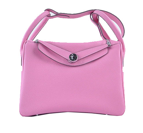 Hermes Lindy 30CM Grainy Leather Shoulder Bag H6207 Pink