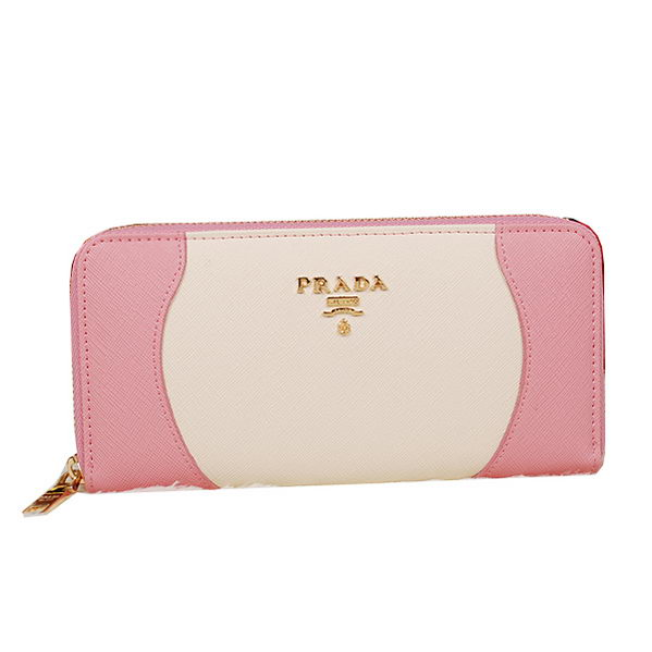 Prada Saffiano Leather Wallet 1M0506C Pink&White