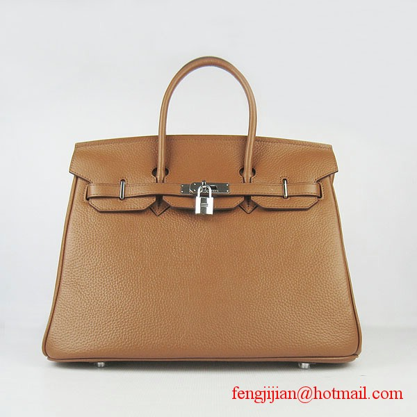 Hermes 35cm Embossed Veins Leather Bag Light Coffee 6089 Silver Hardware