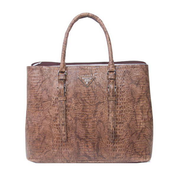 Prada Croco Leather Tote Bags BN2820 Brown