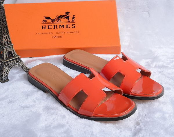 Hermes Slipper Patent Leather HO0430 Orange