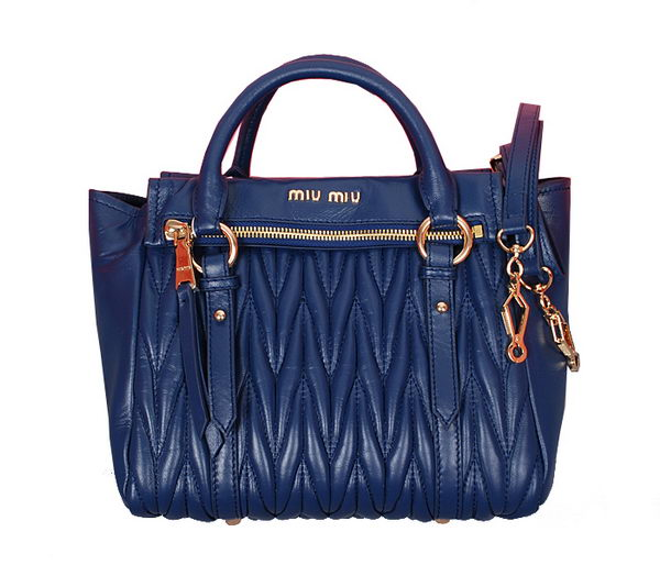 miu miu Matelasse Nappa Leather Top Handle Bag RN1019 RoyalBlue