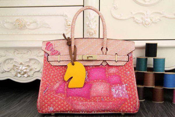 Hermes Birkin 35CM Tote Bag Painting Leather H35CO Pink