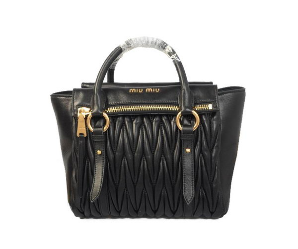 miu miu Matelasse Nappa Leather Top Handle Bag 62061 Black